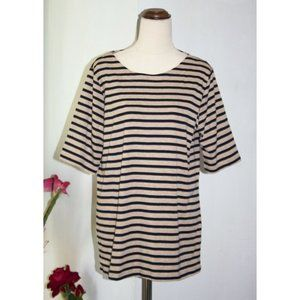 Suzannegrae T-shirt Striped Tee Short Sleeve Size XL Comfy Cotton Blend